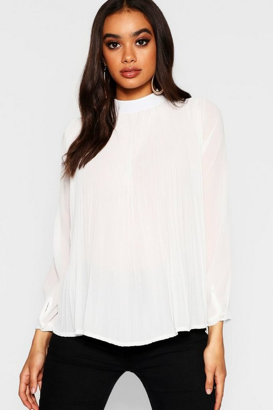 Chiffon Pleated Button Back Shirt