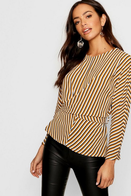 Woven Stripe Twist Front Belted Blouse