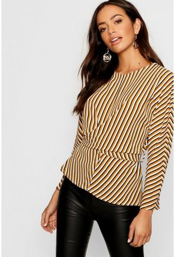 Womens Mustard Woven Stripe Twist Front Belted Blouse