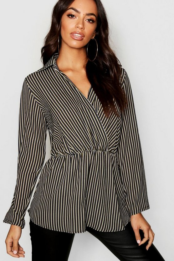 Stripe Twist Front Plunge Shirt