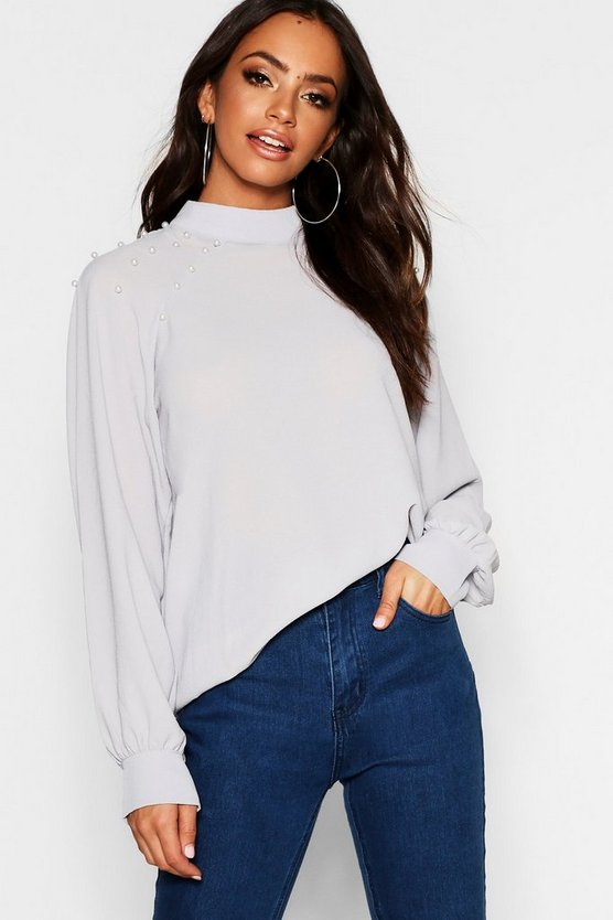 Pearl Detail Turtle Neck Blouse
