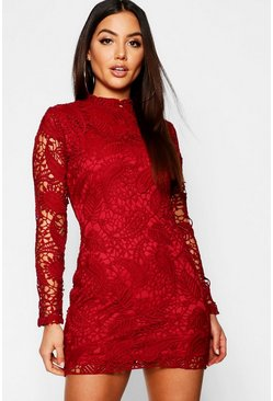 Womens Lace High Neck Long Sleeve Bodycon Dress