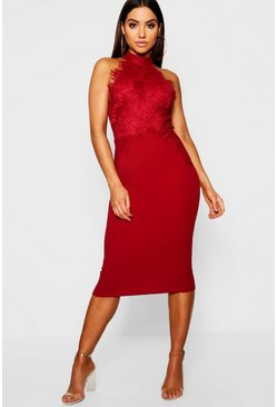 Robe Midi en dentelle festonnée, Fruits rouges