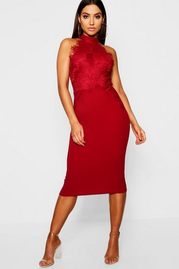 Womens Berry Eyelash Lace Midi Dress