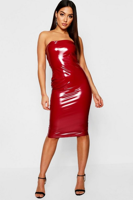 Womens Vinyl Bandeau Midi Dress
