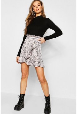 Womens Grey Snake Print Ruffle Wrap Mini Skirt