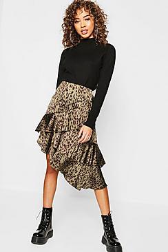 Satin Leopard Print Ruffle Midi Skirt
