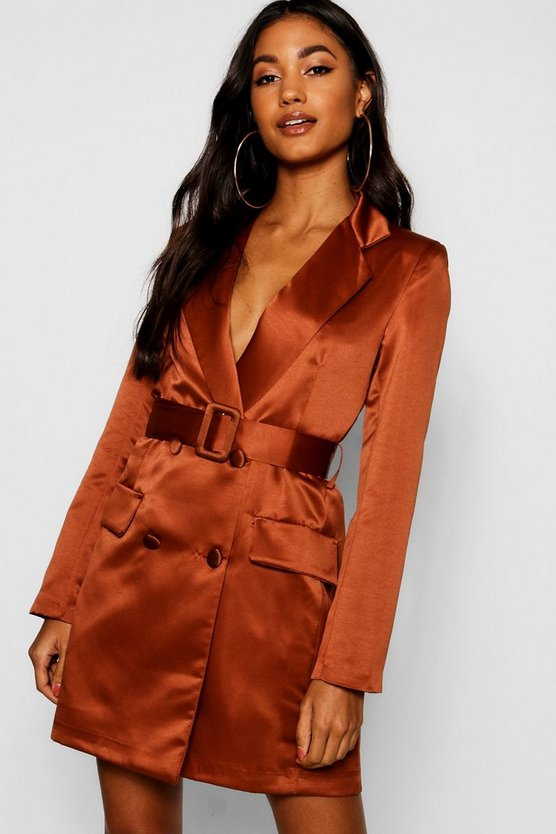 Womens Chocolate Satin Double Breasted Self Belted Blazer Dress