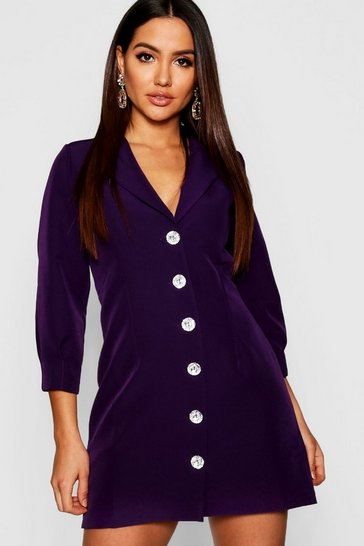 Womens Jewel purple Woven Jewel Button Blazer Dress