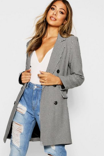 Womens Black Dogtooth Double Breasted Blazer