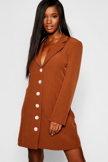 Womens Chocolate Shell Button Blazer Dress