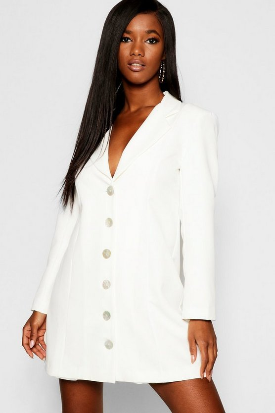 Shell Button Blazer Dress