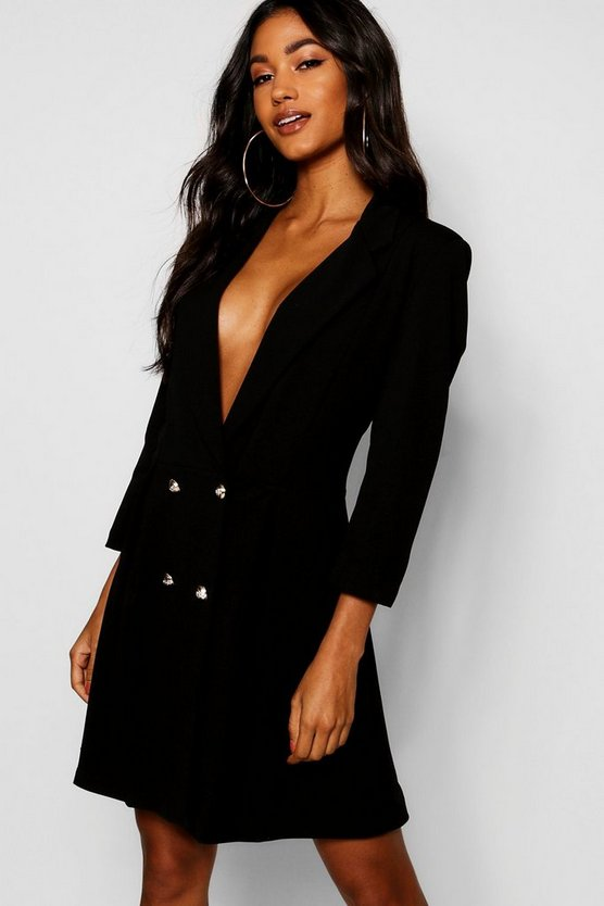 Womens Double Breasted Skater Blazer Dress