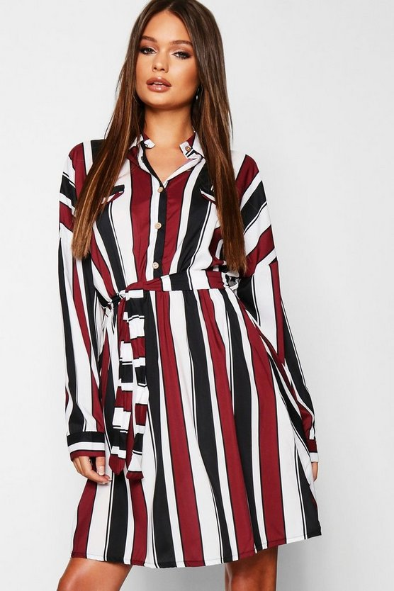 Womens Burgundy Satin Stripe Utility Belted Shirt Dress