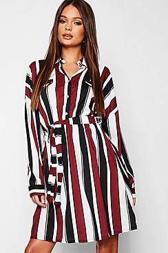 Satin Stripe Utility Belted Shirt Dress
