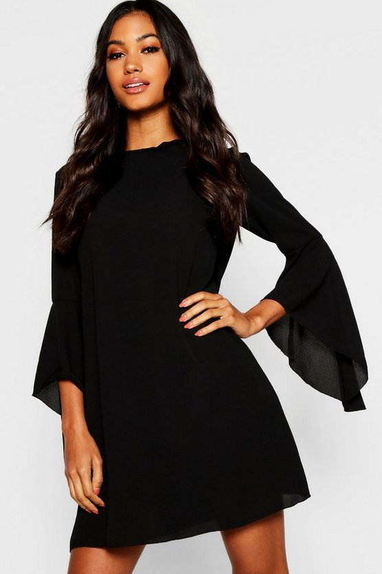 Tie Back Flare Sleeve Swing Dress