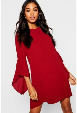 Womens Wine Tie Back Flare Sleeve Swing Dress