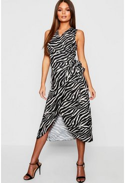 Womens Beige Woven Tiger Print Wrap Dress