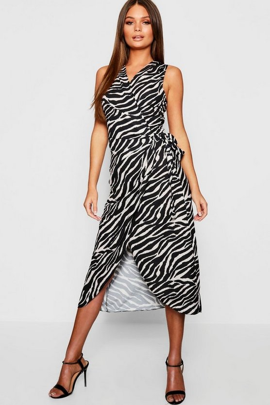 Woven Tiger Print Wrap Dress