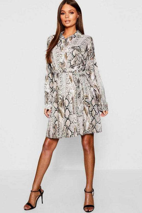 Woven Snake Button Through Shirt Dress