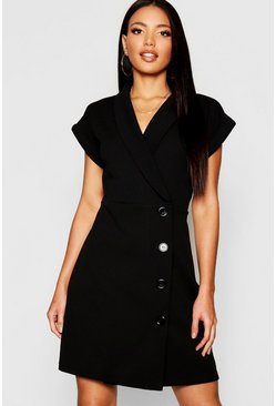 Womens Wrap Button Detail Blazer Dress