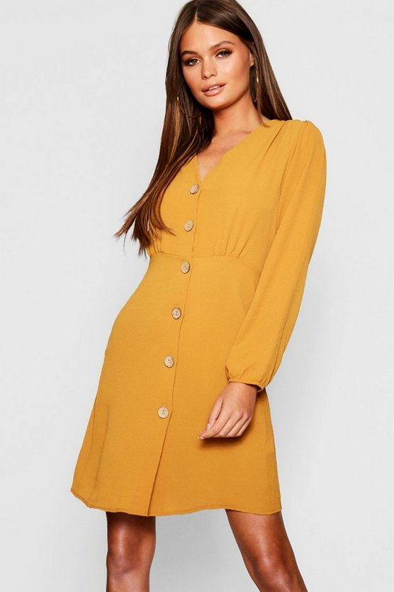 Womens Mustard Satin Button Front Skater Dress