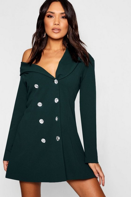 One Shoulder Diamante Button Blazer Dress