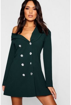 Womens Bottle green One Shoulder Diamante Button Blazer Dress