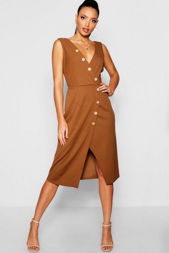 Womens Camel Woven Button Detail Midi Dress