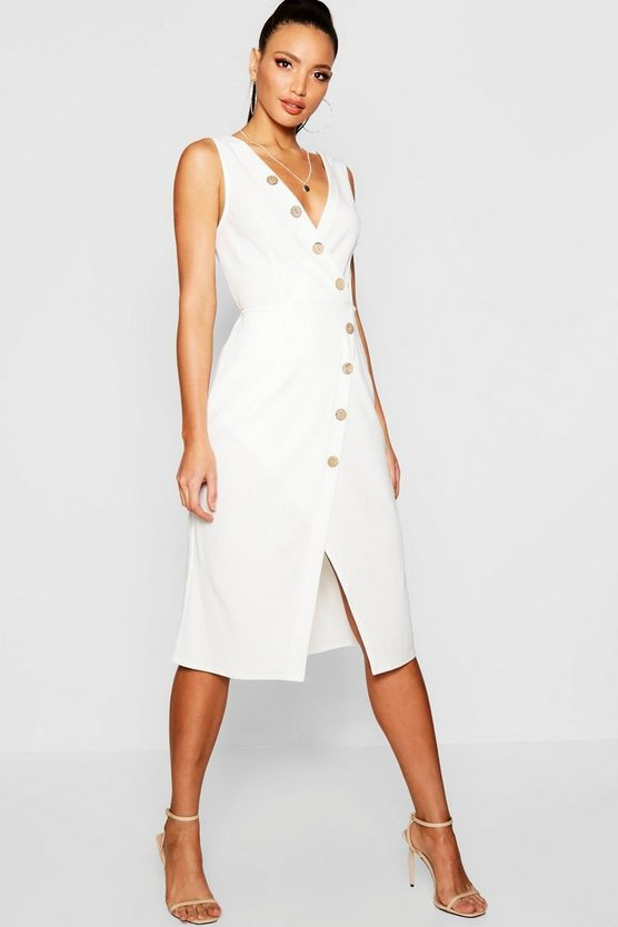 Woven Button Detail Midi Dress