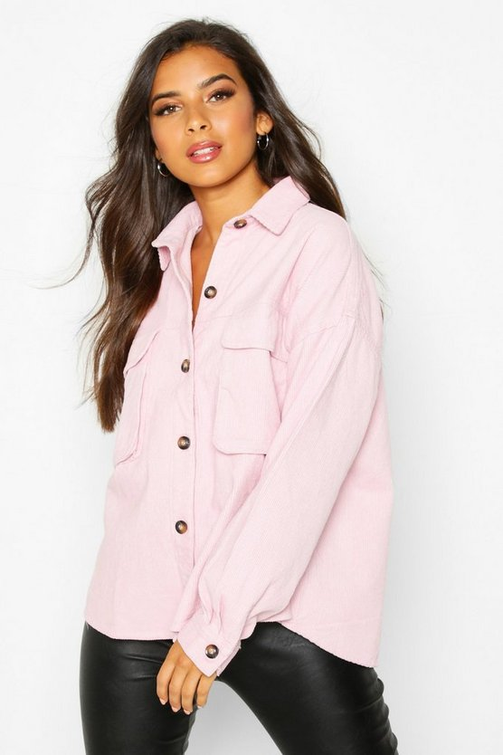 Womens Blush Super Oversize Mock Horn Button Cord Shirt