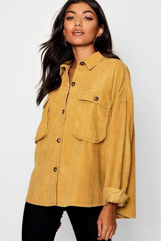Super Oversize Mock Horn Button Cord Shirt