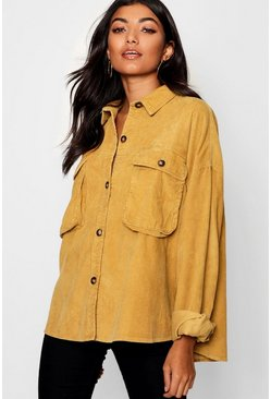 Womens Mustard Super Oversize Mock Horn Button Cord Shirt