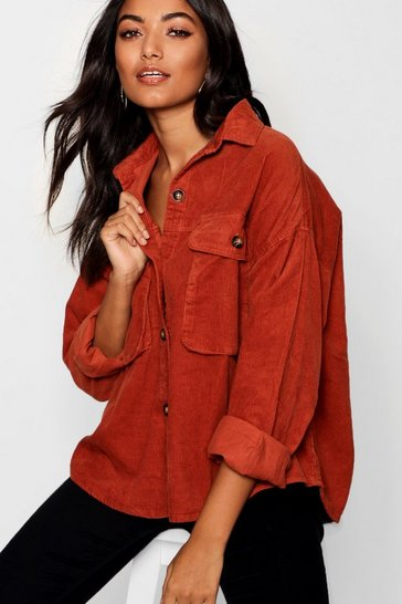 Womens Rust Super Oversize Mock Horn Button Cord Shirt