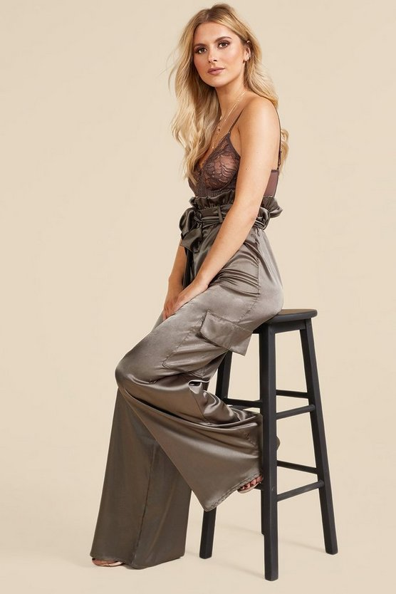 Satin Paperbag Utility Wide Leg Trousers
