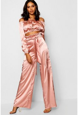 Womens Nude Satin Paperbag Utility Wide Leg Trousers
