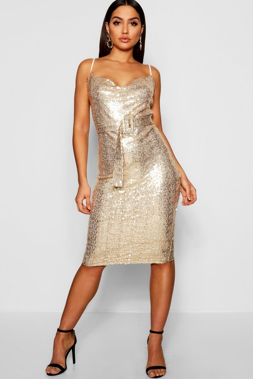 a4264d4778cde Sequin Cowl Neck Belted Midi Slip Dress | Boohoo