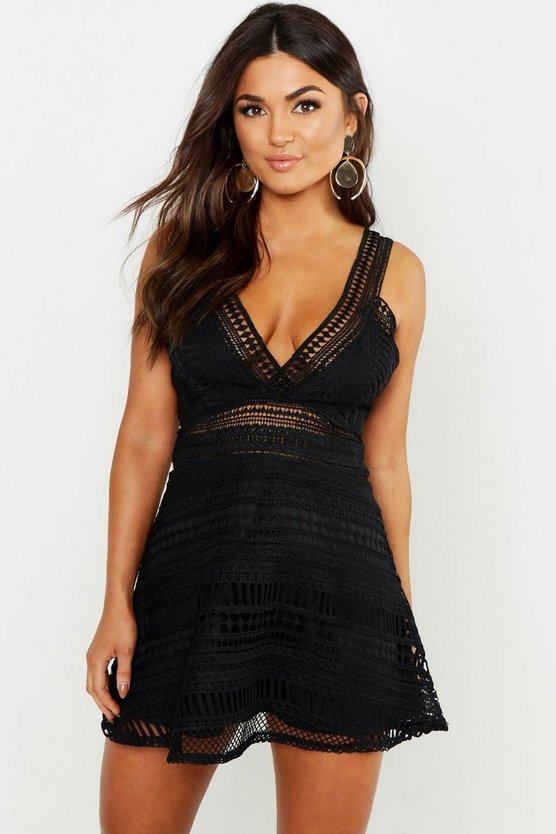 Womens Black Lace Plunge Neck Skater Dress