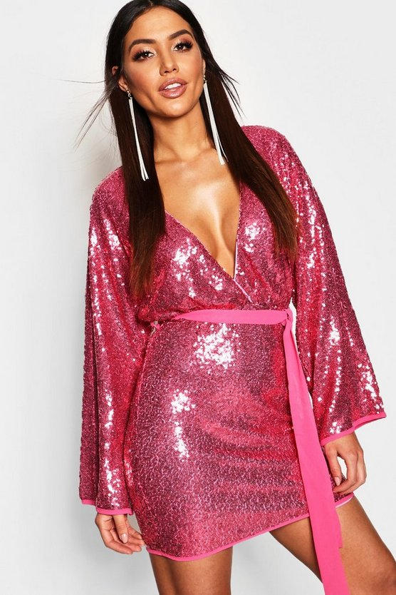 Womens Sequin Kimono Bodycon Dress