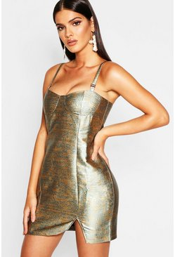 Womens Teal Metallic Bustier Bodycon Dress