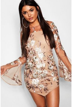 Womens Nude Embroidered Flared Sleeve Bodycon Dress