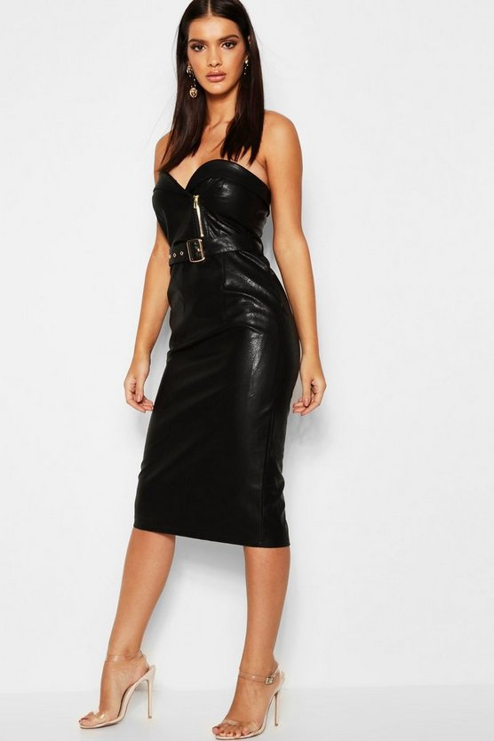 Womens Black PU Belted Bandeau Midi Dress