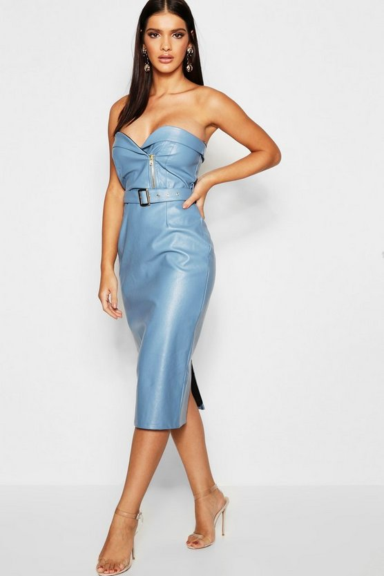 Womens Blue PU Belted Bandeau Midi Dress