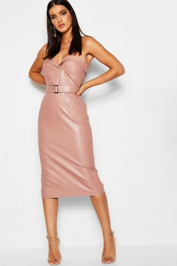 Blush PU Belted Bandeau Midi Dress