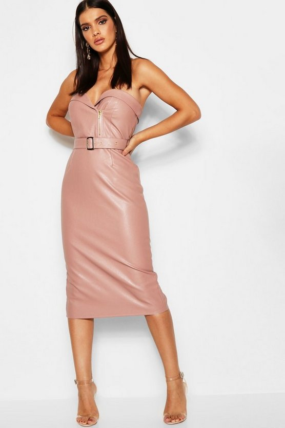 PU Belted Bandeau Midi Dress