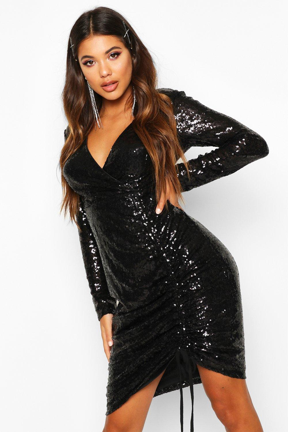 8340a744ef90a1 Sequin Plunge Neck Ruched Midi Dress | Boohoo