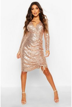 Rose Sequin Plunge Neck Ruched Midi Dress