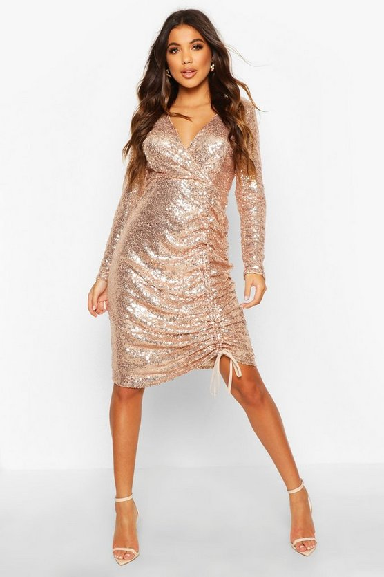 Sequin Plunge Neck Ruched Midi Dress