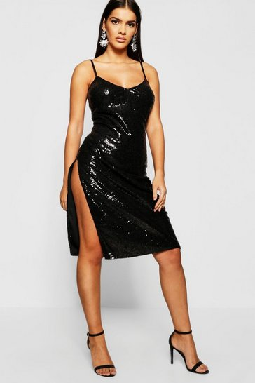 Womens Sequin Plunge Midi Slip Dress