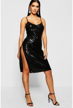 Womens Black Sequin Plunge Midi Slip Dress